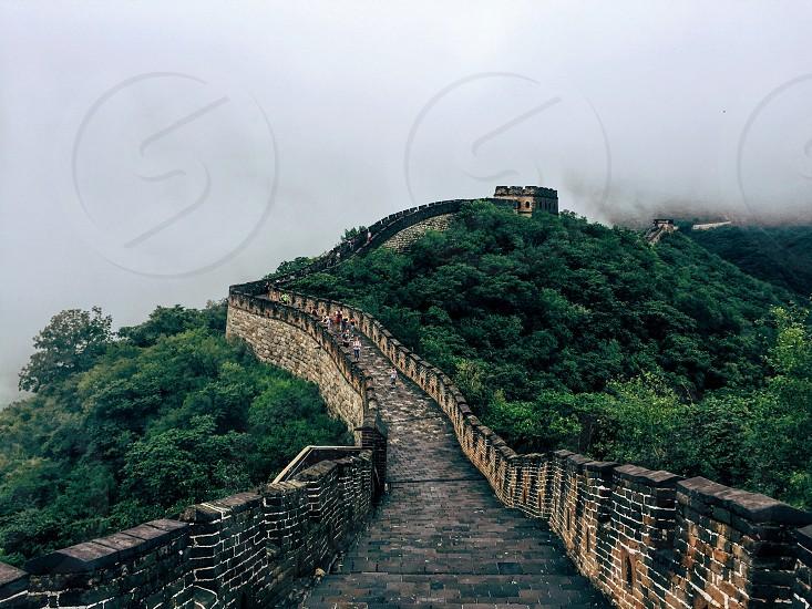 China Great Wall fog travel photo