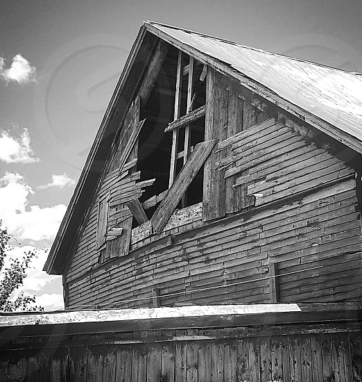 Seen better days...barn falling apart broken hole black and white Vermont rural clapboards summer weather worn  photo