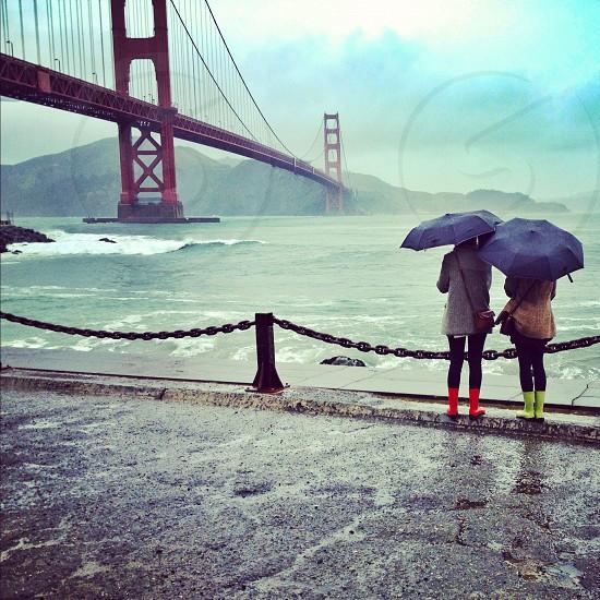 golden gate bridge rain photo