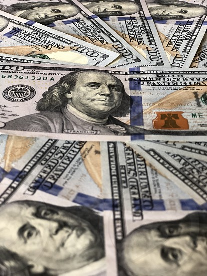 Ben Franklin One-Hundred Dollar Bills Money Banking Finance  photo