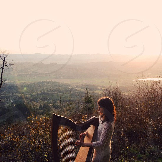 woman playing harp by the flowers photo