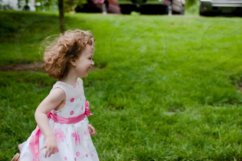 running free childhood girl laughing photo