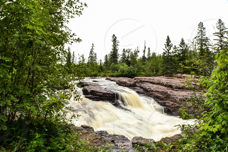 North shore long exposure waterfall river forest  photo
