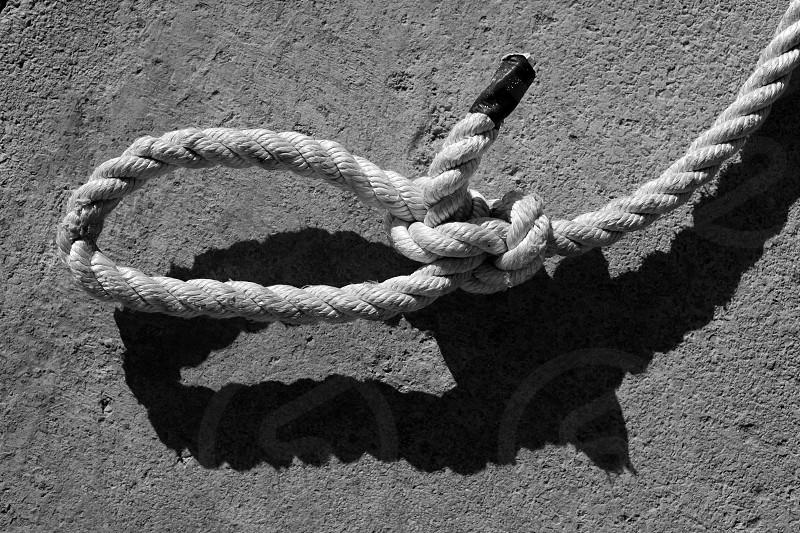 black and white bowline gauze on marine rope and shadow photo