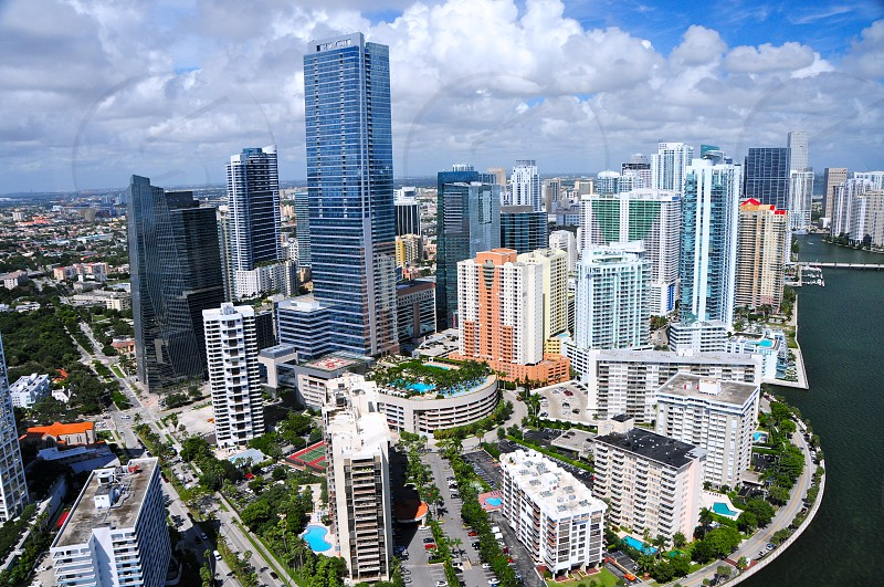 Aerial view of downtown Miami photo
