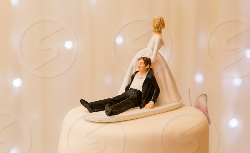 white and black wedding cake photo