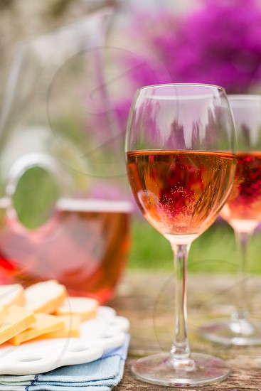 Rosé Wine with Cheese and French Baguette photo