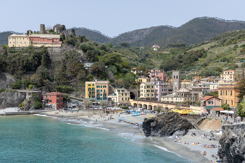 MONTEROSSO LIGURIA/ITALY  - APRIL 22 : View of the coastline at Monterosso Liguria Italy on April 22 2019. Unidentified people photo