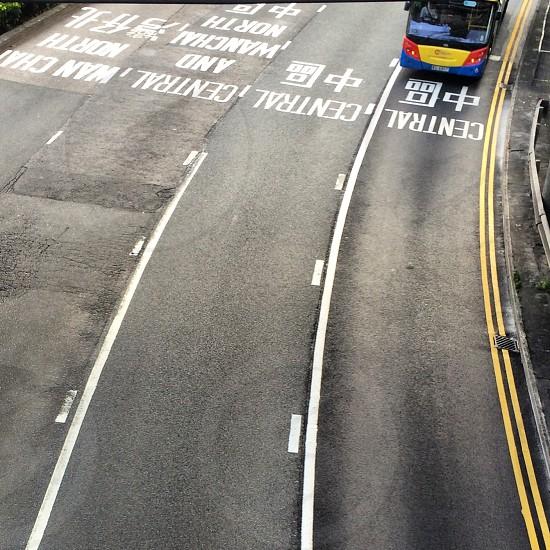 Lanes. Road traffic transportation asphalt street highway Hong Kong roadway bus photo