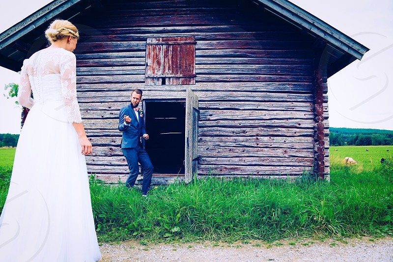 Wedding  to have and to hold marriage  outdoors  logcabin old nature couple photo
