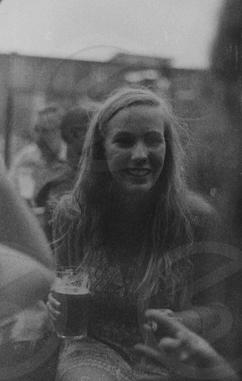 girl holding a pint photo