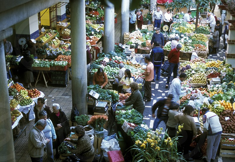 the market hall in the old town of Funchal on the Island of Madeira in the Atlantic Ocean of Portugal. photo