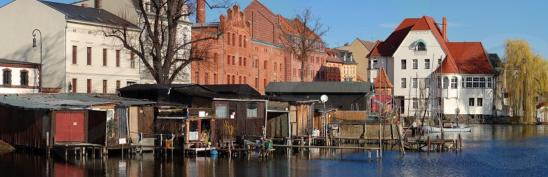 Brandenburg an der Havel cityscape with little harbor and houses on Promenade (Germany) photo