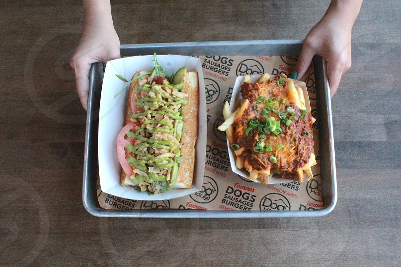 bun with red slice tomatoes and sliced green bell pepper beside fries topped with smoked cheese and sliced scallions photo