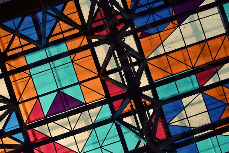 ceiling glass color shape santiago chile abstract pattern construction photo