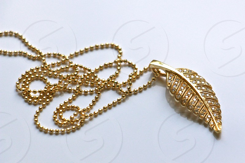 gold leaf pendant necklace photo