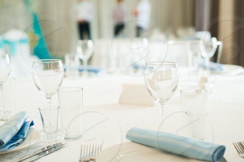 Serving wedding table. covered with a festive round table photo