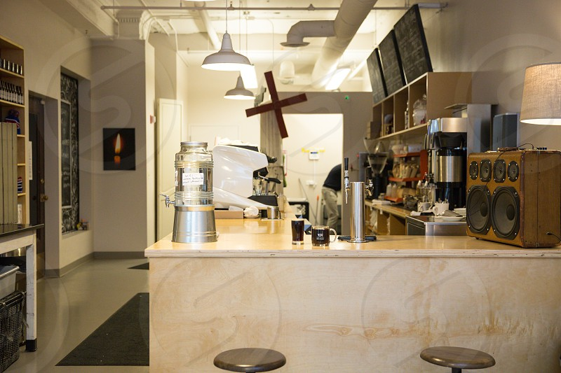 bow truss coffee roasters chicago interior photo