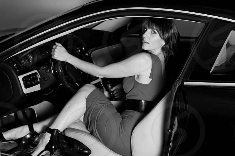 woman in grey tank top mini dress sitting photo