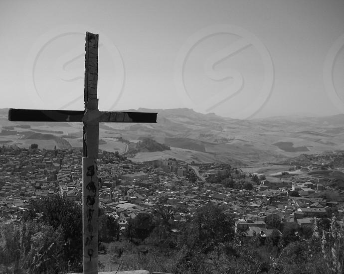 Cross Italy Sicily Religion Scenic Mountain Top Village photo