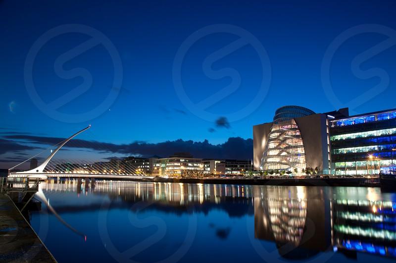 Dublin's Beckett Bridge by Night photo