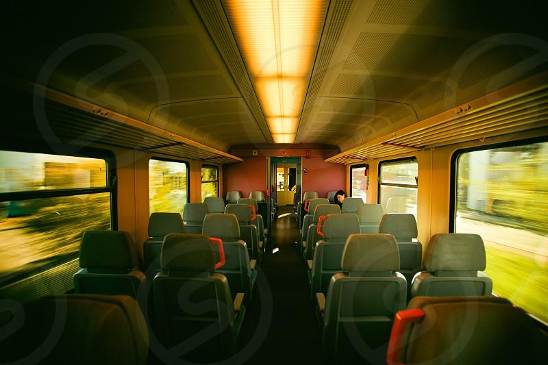 gray train seat photo