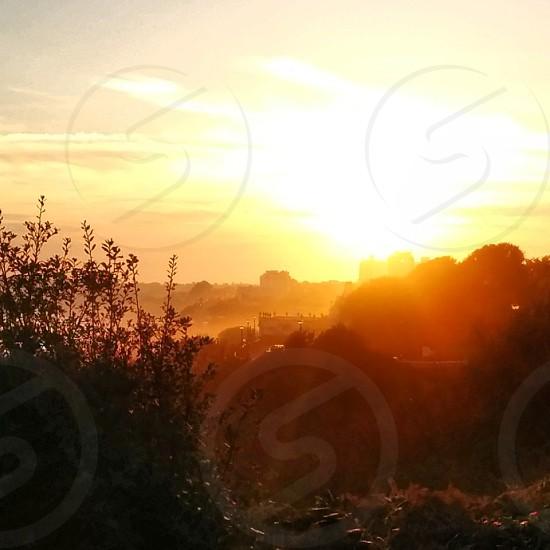 Hazy sunset. photo