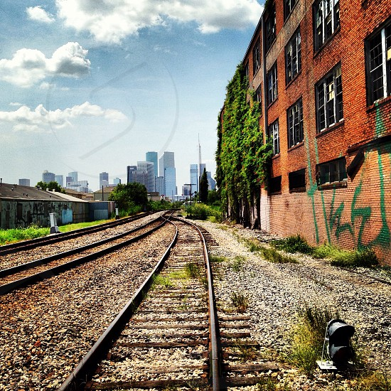 Houston Texas train tracks railroad grunge urban skyline city photo