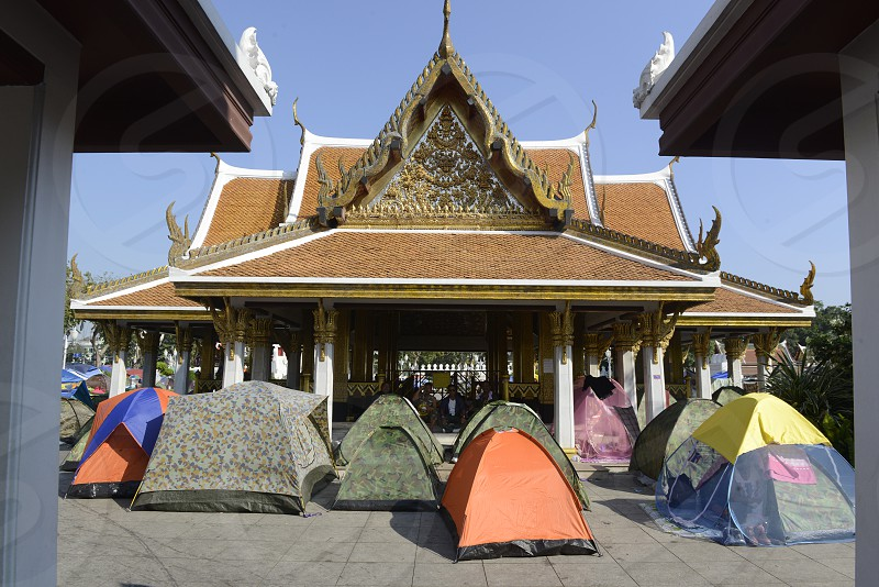 Thai anti-government protesters  during a rally at theDemocracy Monument in .Bangkok Thailand Saturday Jan.11  2014. photo