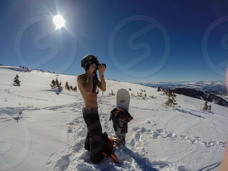 Snowboarding in the backcountry photo