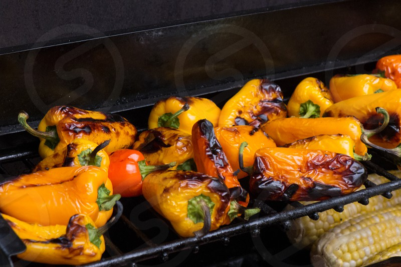 Food cooking yellow grill peppers corn  photo