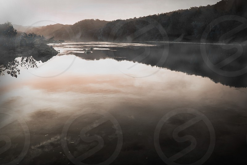 Potomac river mist fog sunset water sun beautiful peaceful photo