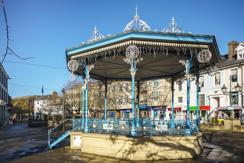 HORSHAM WEST SUSSEX/UK - NOVEMBER 30 : View of the bandstand in Horsham West Sussex on  November 30 2018. Three unidentified people photo