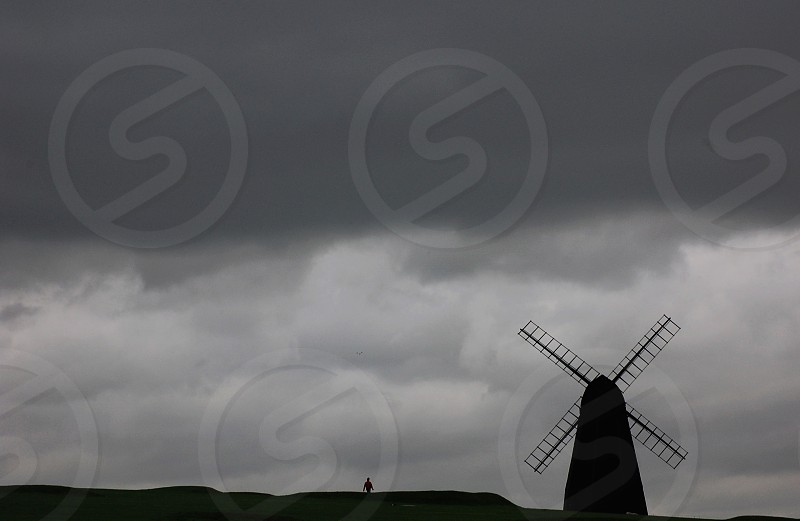windmill in field. photo