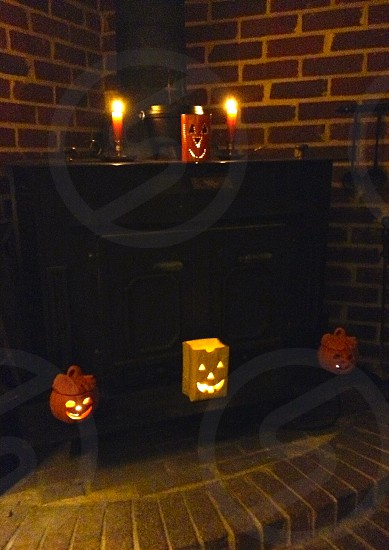 Happy Halloween spooky candle decor photo
