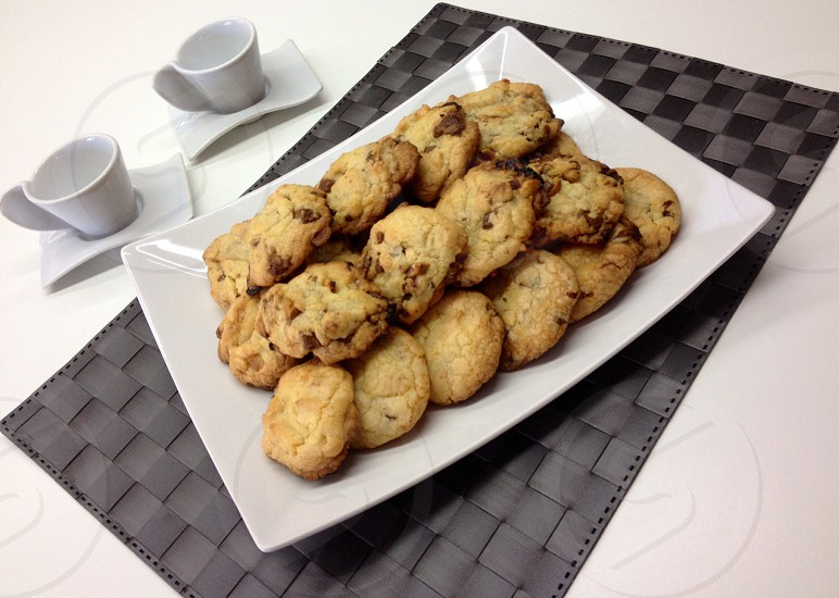 Cookies and coffe for breakfast photo