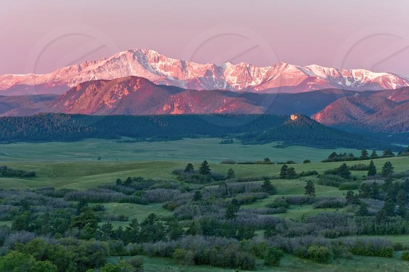 pikes peak colorado green valley ranch sunrise snow spring colorado springs american state photo
