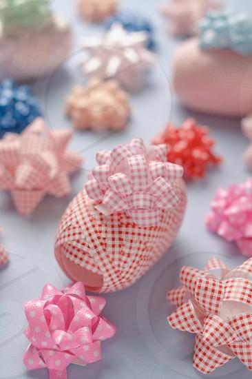 Pastel colors ribbon and bows photo