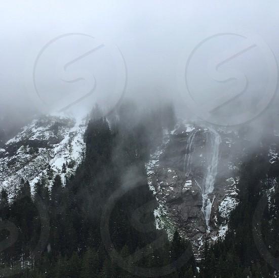 Mountains fog misty winter snow freedom photo