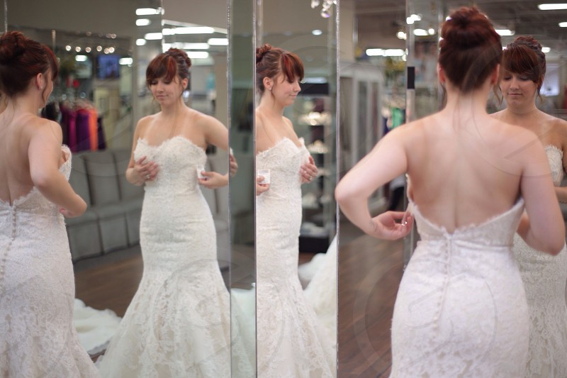 woman in white bridal dress standing photo
