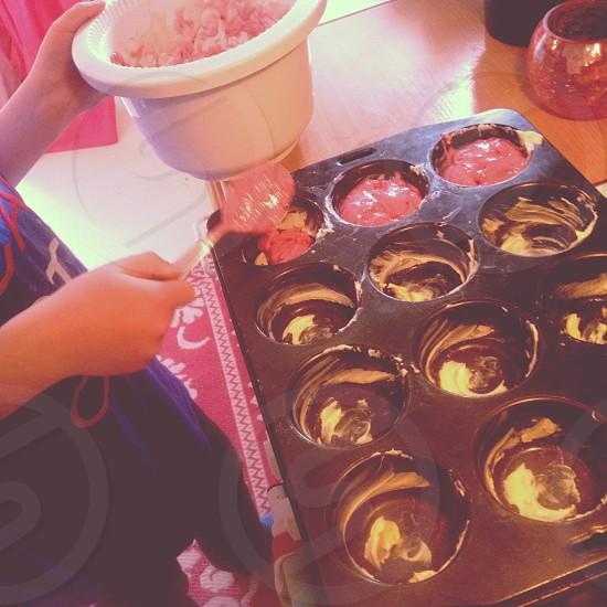 baking pink cupcake muffins photo