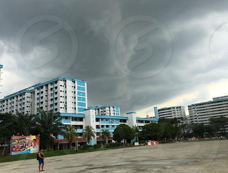 Stormy weather clouds dark photo