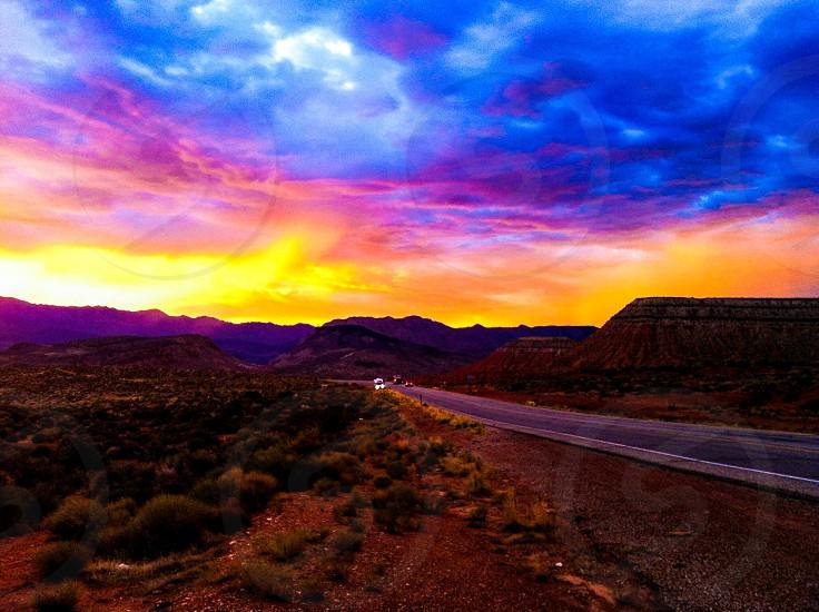 Colorful sunset in Utah photo
