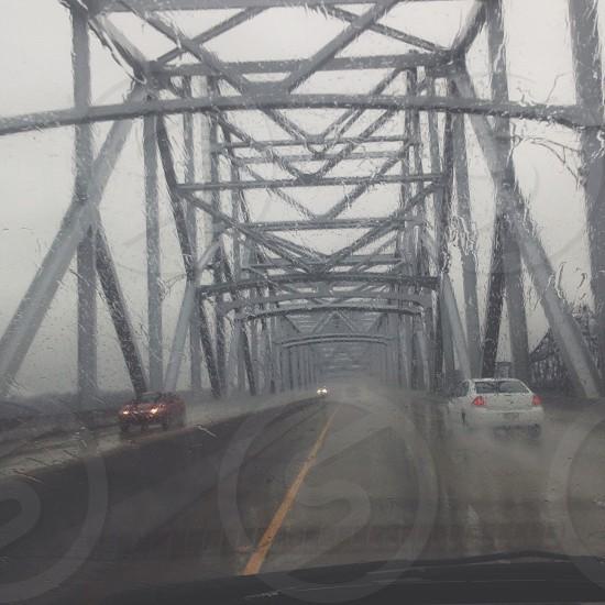 silver steel bridge  photo