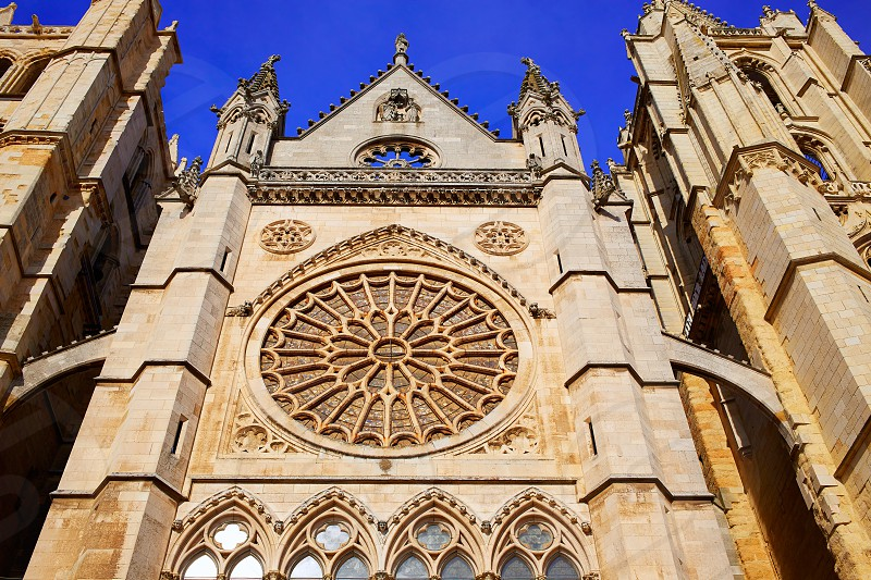 Cathedral of Leon gothic Rosette in Castilla at Spain photo