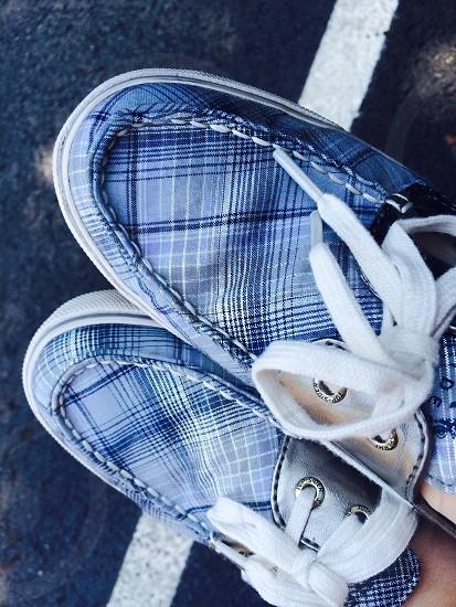 Plaid; shoes; parking lot; blue shoes; silver; shoestrings photo