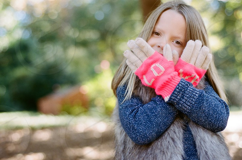love valentine valentines day holiday pink white blue gloves sweet girl sun park celebrate happy hands face pretty letters photo