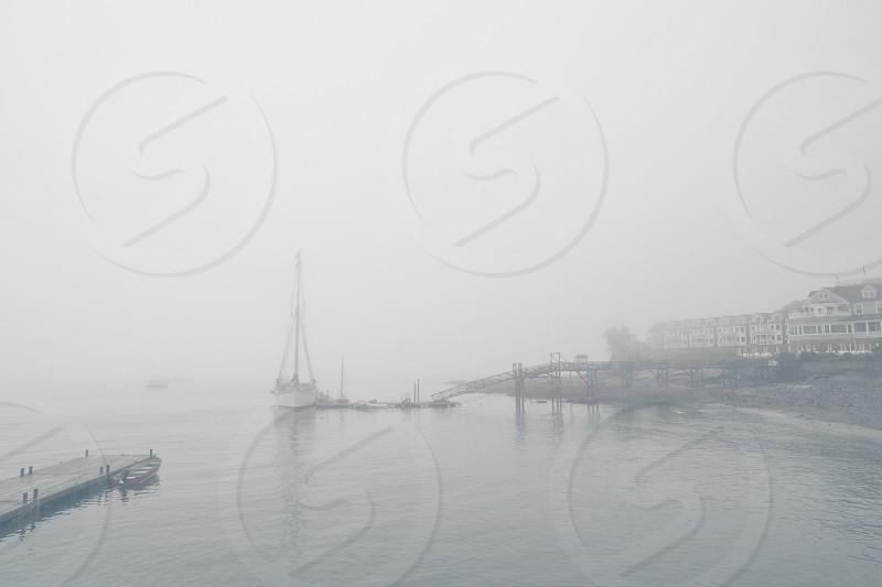 Fog foggy day ship bay overcasted lake  photo