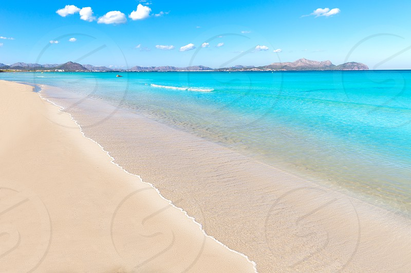 Mallorca Can Picafort beach in alcudia bay at Majorca Balearic islands of Spain photo