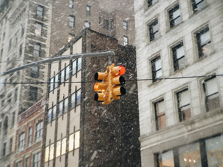 intersection traffic light showing red during winter photo